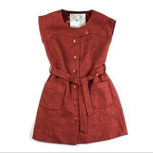 Anthropologie Blustery Days Brick Red Dress Jacket